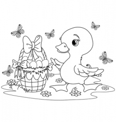 Easter duckling coloring page vector