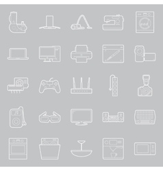 Home electrical appliances thin lines icon set vector