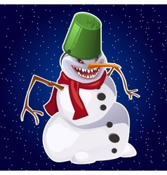 Evil snowman carrot nose red scarf and bucket vector