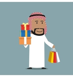 Arabian businessman with shopping bags and gifts vector