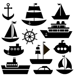 Black sea transport set vector