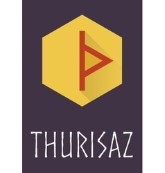 Thurisaz rune of elder futhark in trend flat style vector