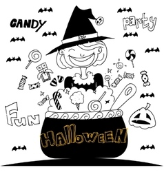 Cute witch halloween with hand draw vector