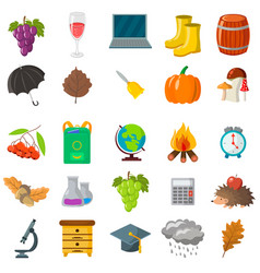 Autumn school icon set cartoon and flat style vector