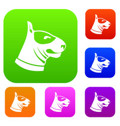 Bull terrier dog set collection vector