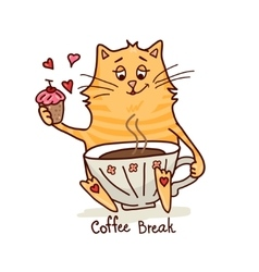 Cute cat with coffee 2 vector