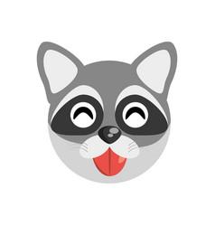 Cute face raccoon animal cheerful vector