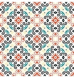 Floral Pattern Blue Brown Curve Elements vector image vector image