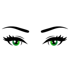 Green woman eyes vector