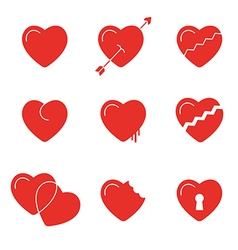 heart icons symbols vector image vector image