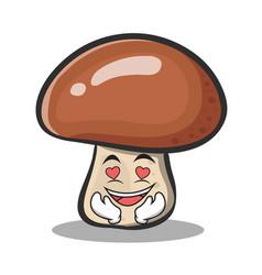 In love mushroom character cartoon vector