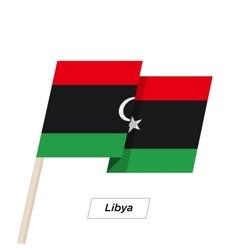 Libya ribbon waving flag isolated on white vector