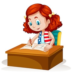 Little girl writing on the table vector