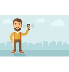 Man holding smartphone vector image