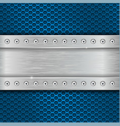 Metal texture with brushed iron plate with rivets vector