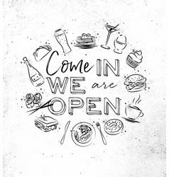 Monogram we are open vector
