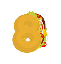 Number 8 tacos mexican fast food font eight taco vector