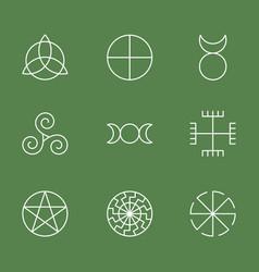 Pagan ancient symbols mystery sacred icons vector