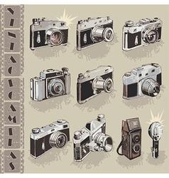 Retro cameras collection vector image