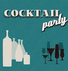 Retro teal coctail party invitation card vector