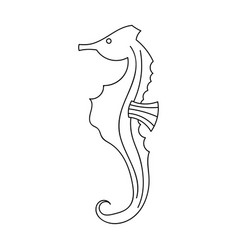 Seahorse icon in outline style isolated on white vector