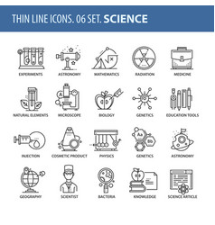 Set of thin line flat icons science vector