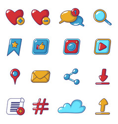 social network icons set cartoon style vector image