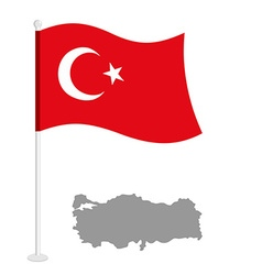 Turkey flag red national flag of country turkish vector