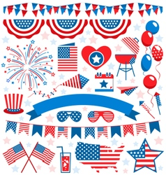 USA celebration flat national symbols set for vector image
