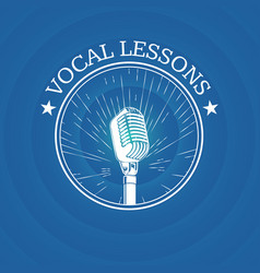 vocal lessons logo with retro microphone on vector image