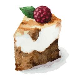Watercolor pie piece of cake vector