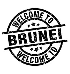 Welcome to brunei black stamp vector