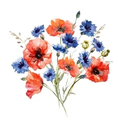 Wild flower bouquet vector image