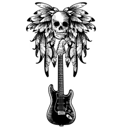 wings with skull guitar vector image vector image
