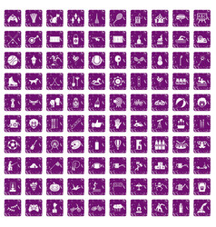 100 kids activity icons set grunge purple vector image vector image