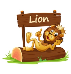 A king lion and the wooden signboard vector