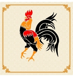 Stylized red rooster on the background of the vector image