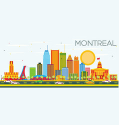Montreal skyline with color buildings and blue sky vector