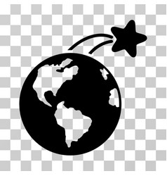rising satellite on earth icon vector image