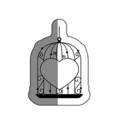 Cage with heart icon vector