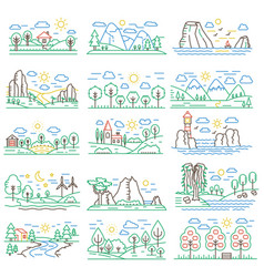 Nature color line landscapes set with mountains vector