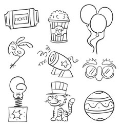 various element circus of doodles vector image