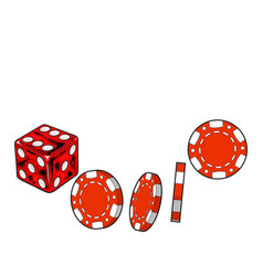 Shiny red dice and gambling chips casino vector