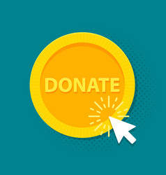 Gold donate sign coin in flat style vector