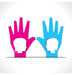 Male and female face on palm vector