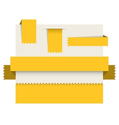 Yellow paper tags - ribbons stripes and bookmars vector image