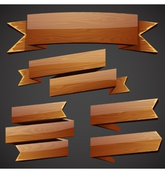 Set of wood banners vector