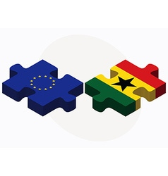 European union and ghana flags in puzzle isolated vector