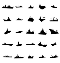 25 different warships silhouettes vector image