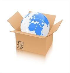 Earth in an open cardboard box vector